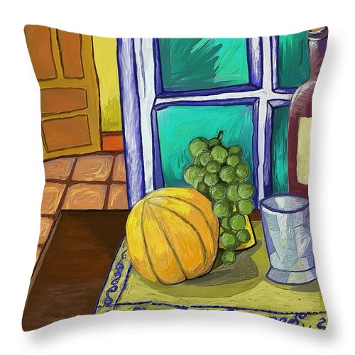 Figurative Throw Pillow featuring the painting Taula I Melo by Xavier Ferrer
