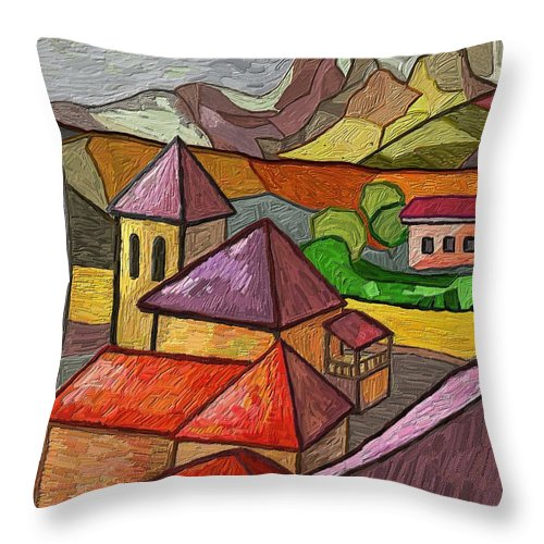 Figurative Throw Pillow featuring the painting Taulades by Xavier Ferrer