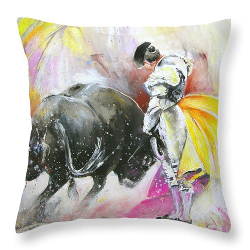 Animals Throw Pillow featuring the painting Taurean Power by Miki De Goodaboom
