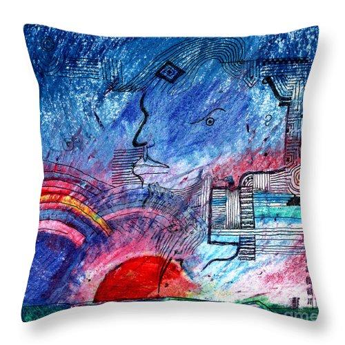 Taurus Throw Pillow featuring the digital art Taurean Sunset by Andy Mercer