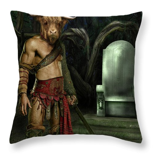 Taurus Throw Pillow featuring the digital art Taurus by Virginia Palomeque