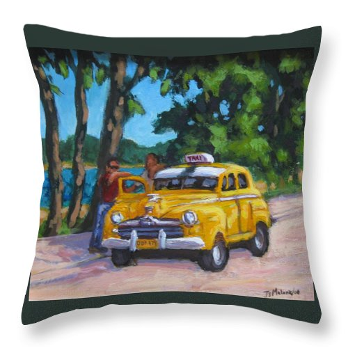 Old Cars Throw Pillow featuring the painting Taxi Y Amigos by John Malone