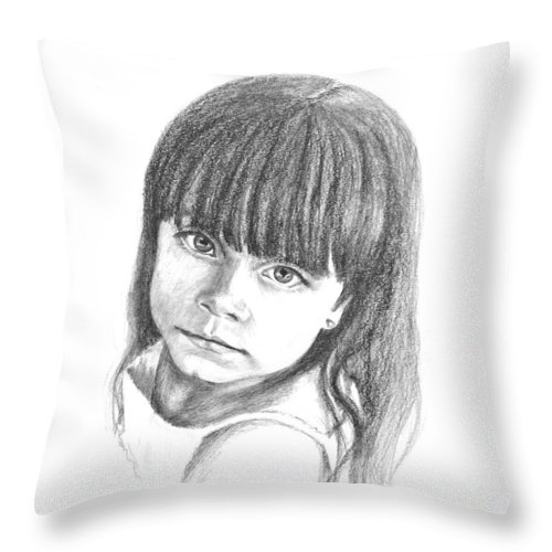 Drawing Throw Pillow featuring the drawing Taylor by Keith Burgess