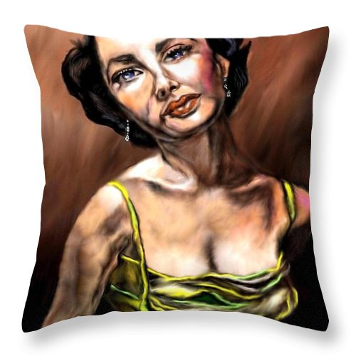 Elizabeth Taylor Throw Pillow featuring the painting Taylor Made Elizabeth Taylor by Herbert Renard