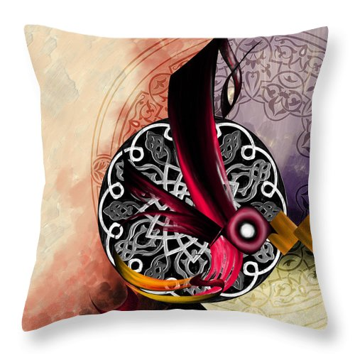 Al Majid Throw Pillow featuring the painting Tc Calligraphy 95 Al Majid 1 by Team CATF