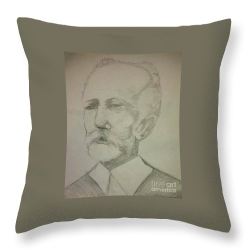 Throw Pillow featuring the drawing Tchaikovsky by Lauren Champion