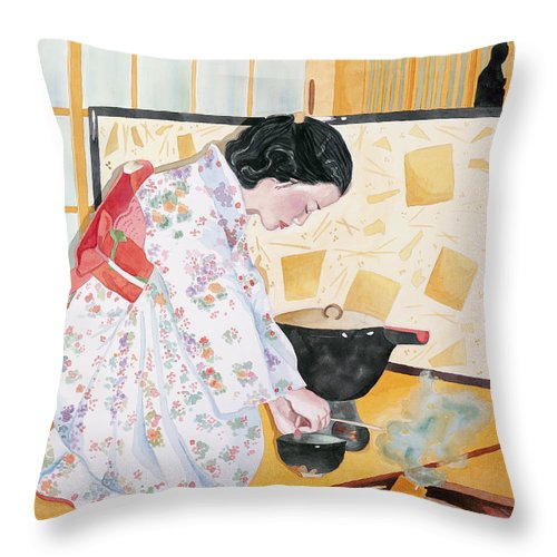 Japanese Woman Performing Tea Ceremony Throw Pillow featuring the painting Tea Ceremony by Judy Swerlick