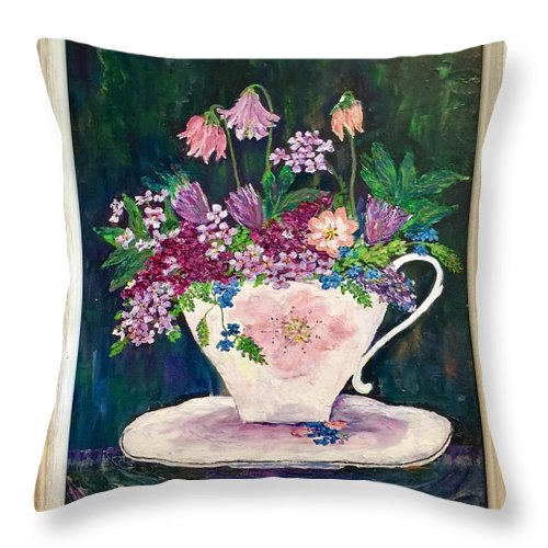 Original Oil Painting Of Flowers. Throw Pillow featuring the painting Tea Cup Bloom by Fatema Ansari