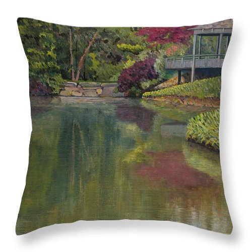 Impressionist Throw Pillow featuring the painting Tea House by Don Perino