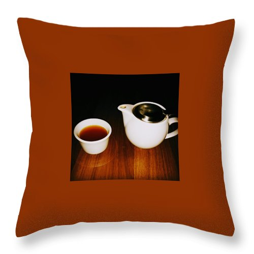 Tea Lovers Throw Pillow featuring the pyrography Tea-juana by Albab Ahmed