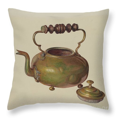 Throw Pillow featuring the drawing Tea Kettle by Michael Rekucki
