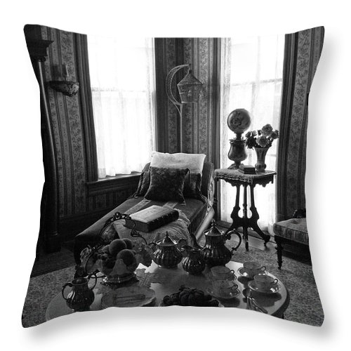 Parlor Throw Pillow featuring the photograph Tea Room by Mark Grayden