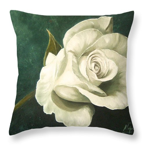 Rose Flower Still Life White Throw Pillow featuring the painting Tea Rose by Natalia Tejera