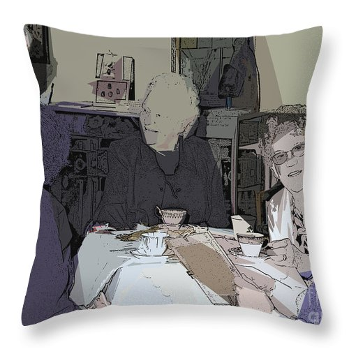 Tea Time Throw Pillow featuring the digital art Tea Time At Sue's by Jacqueline Milner