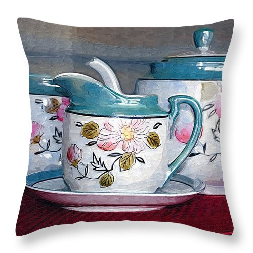 Tea Throw Pillow featuring the photograph Tea Time by Donna Bentley