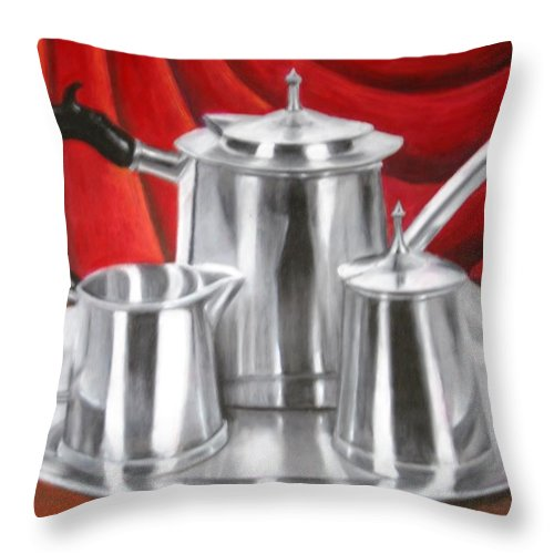 Teapots Throw Pillow featuring the painting Tea Time by Melissa Wiater Chaney