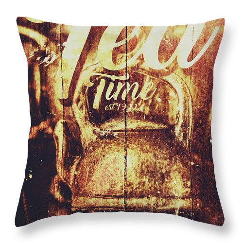 Sign Throw Pillow featuring the photograph Tea Time Tin Sign by Jorgo Photography - Wall Art Gallery