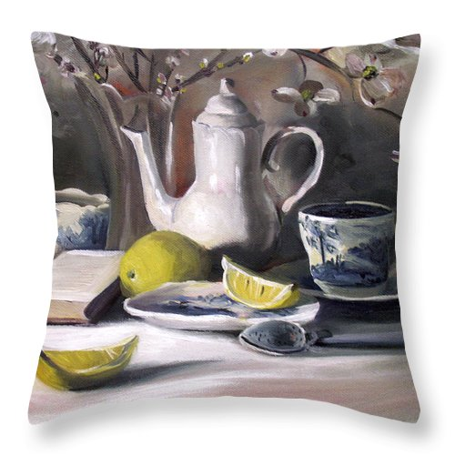 Lemon Throw Pillow featuring the painting Tea With Lemon by Nancy Griswold