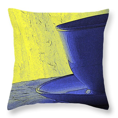 Blue Throw Pillow featuring the digital art Teacup by Jacqueline Milner