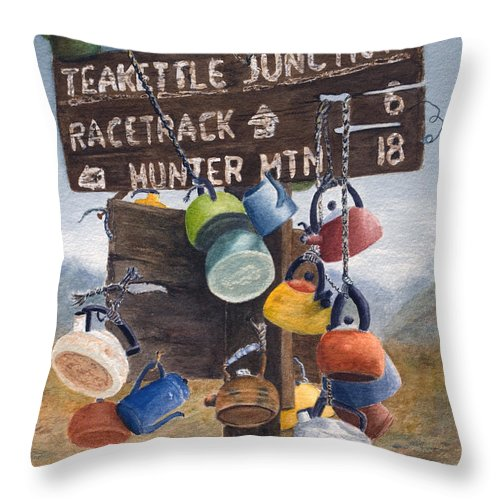Teakettle Throw Pillow featuring the painting Teakettle Junction by Karen Fleschler