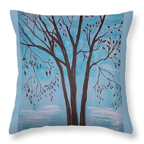 Tree Painting Throw Pillow featuring the painting Teal And Brown by Leslie Allen