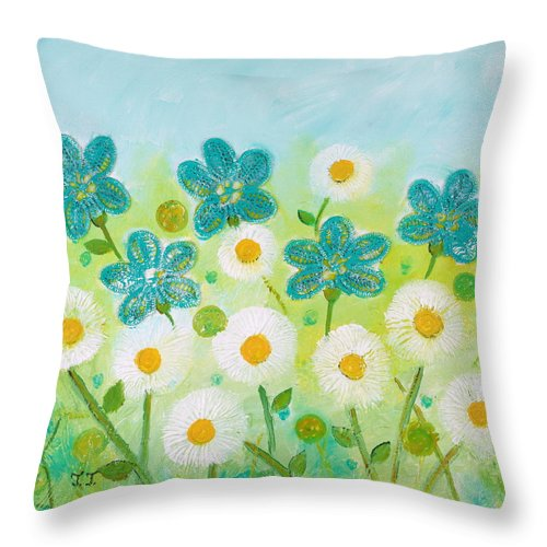White Flowers Painting Throw Pillow featuring the painting Teal Flowers And Daisies by Teodora Totorean