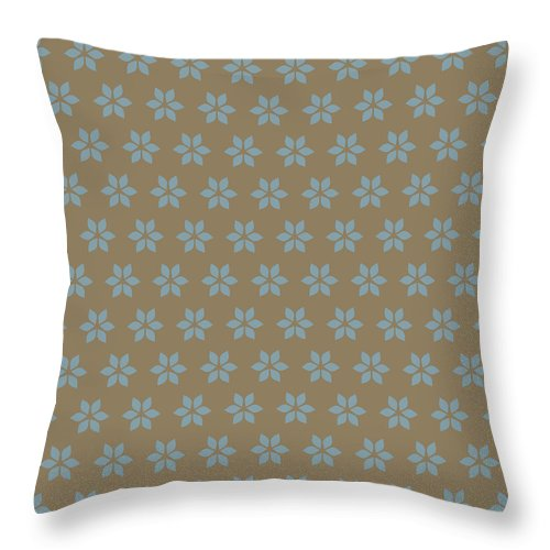 Decorative Pillow Placement : Teal Flowers On Brown Throw Pillow for Sale by Rebecca Gift