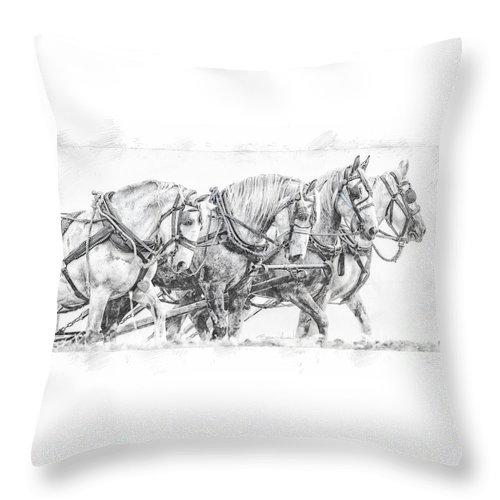 Alberta Throw Pillow featuring the digital art Team Work by Brad Allen Fine Art