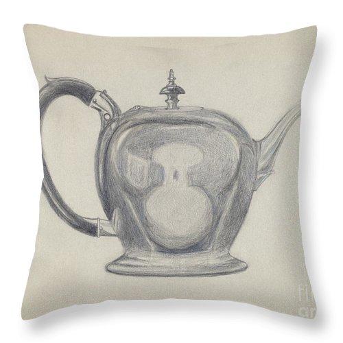 Throw Pillow featuring the drawing Teapot by John Garay
