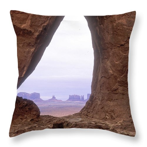 Monument Valley Throw Pillow featuring the photograph Teardrop Arch-monument Valley by Sandra Bronstein