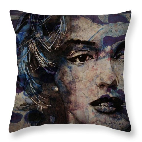 Marilyn Monroe Throw Pillow featuring the painting Tears Are How My Eye's Speak When My Lips Can't Describe How Much I Have Been Hurt by Paul Lovering