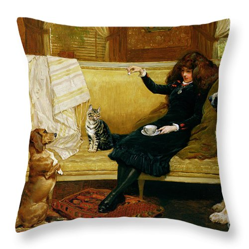 Teatime Throw Pillow featuring the painting Teatime Treat by John Charlton