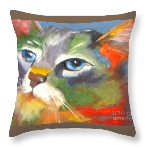 Cat Throw Pillow featuring the painting Technicolor Tabby by Susan A Becker