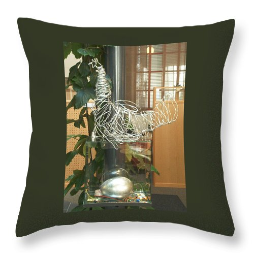 Throw Pillow featuring the sculpture Techno Hen by Jarle Rosseland