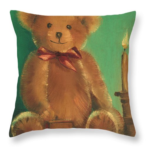 Teddy Bear Throw Pillow featuring the painting Ted E. Bear by Arline Wagner