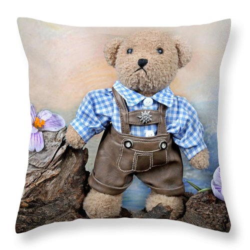 Teddy Throw Pillow featuring the photograph Teddy On Tour by Manfred Lutzius