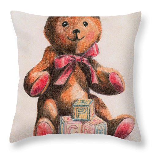 Teddy Bear Throw Pillow featuring the drawing Teddy With Blocks by Arline Wagner