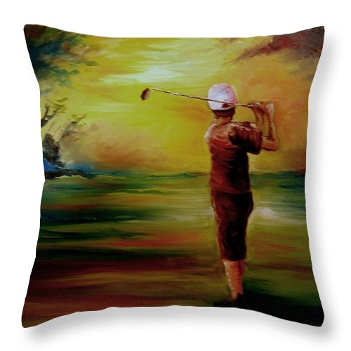 Golf Throw Pillow featuring the painting Tee Off by Melissa Wiater Chaney