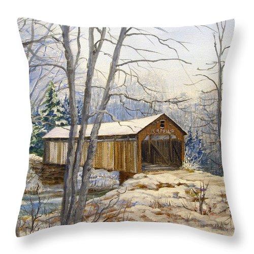 Oil Painting;bridge;covered Bridge;winter Scene;snow;landscape;winter Landscape; Throw Pillow featuring the painting Teegarden Covered Bridge In Winter by Lois Mountz