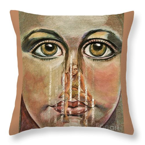 Girls Throw Pillow featuring the painting Teen Depression by Gail Allen