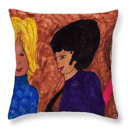 3 Teen Girls Throw Pillow featuring the mixed media Teen Years by Elinor Helen Rakowski