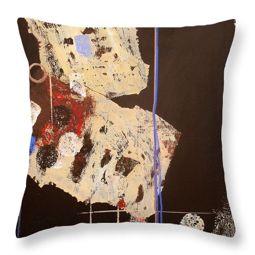 Abstract Throw Pillow featuring the painting Teeter by Ruth Palmer
