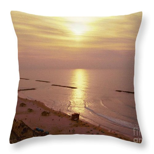 Nature Throw Pillow featuring the photograph Tel Aviv Beach Morning by Gail Kent