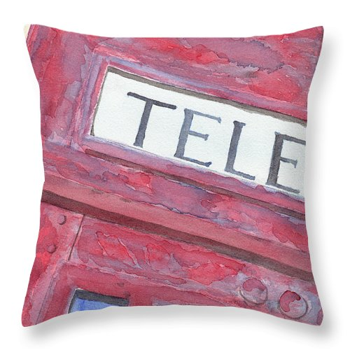 Telephone Throw Pillow featuring the painting Telephone Booth by Ken Powers