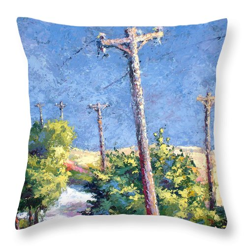 Landscape Painting Throw Pillow featuring the painting Telephone Poles Before The Rain by Lewis Bowman