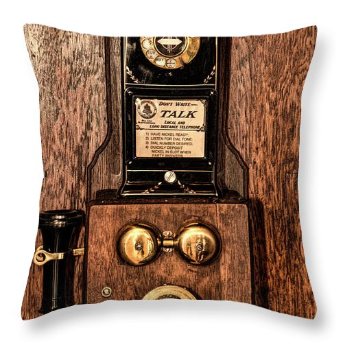 Telephone Throw Pillow featuring the photograph Telephone by Thomas Fields