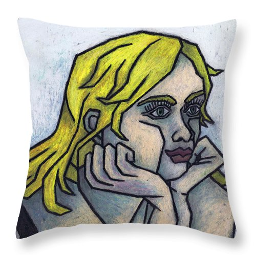 Tell Me More Throw Pillow featuring the painting Tell Me More by Kamil Swiatek