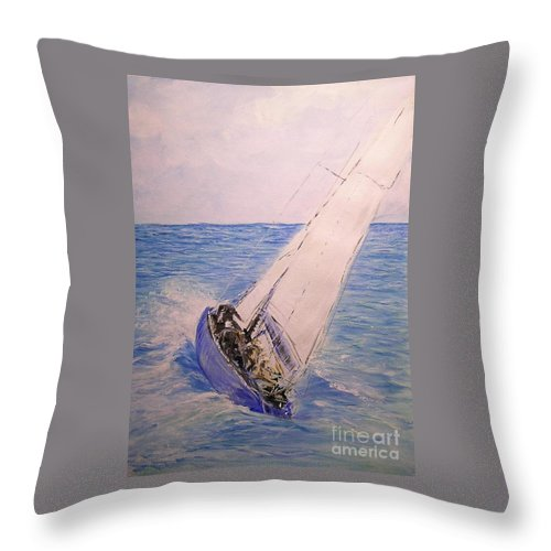 Seascape Throw Pillow featuring the painting Tell Tails In The Wind by Lizzy Forrester
