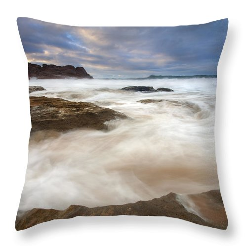 Bowl Throw Pillow featuring the photograph Tempestuous Sea by Mike Dawson