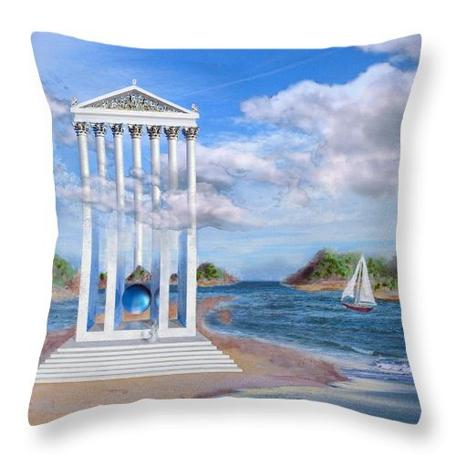 Landscape Throw Pillow featuring the painting Temple For No One by Steve Karol